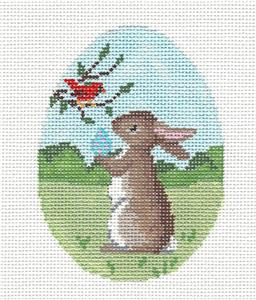 Egg~Bunny & Cardinal EGG handpainted Needlepoint Ornament Susan Roberts