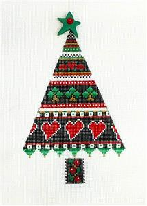 Scandinavian Hearts LOVE Christmas Tree handpaint Needlepoint Ornament by Mindy