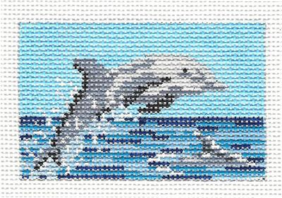 Canvas~ DOLPHIN to fit Planet Earth ID TAG handpainted Needlepoint Canvas N.Crossings
