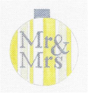 "Round~""Mr. & Mrs."" Yellow & Silver 3.5"" handpainted Needlepoint Ornament Ray. Crawford"