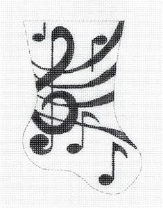 Stocking~Musical Notes Mini Stocking handpainted Needlepoint Ornament Ray. Crawford