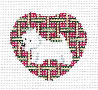 Lapel Pin~WESTIE Dog Lapel Pin, Ornament handpainted Needlepoint Canvas by Kathy Schenkel
