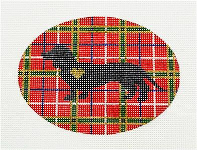 Oval~DACHSHUND Dog on Plaid handpainted Needlepoint Ornament Canvas by Pepperberry
