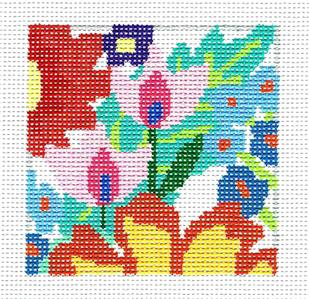 "Coaster~Fantasy Garden 10 4"" Sq. Coaster handpaintd Needlepoint Canvas Jean Smith"