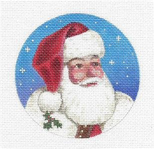 Christmas~Santa Face & Holly HP Needlepoint Canvas Ornament by LIZ ~ S.Roberts - SP. ORDER