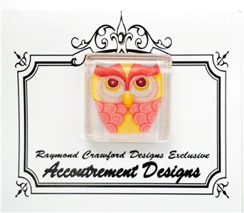 Magnet~Pink & Yellow Owl Magnet Glass Needle Holder for Needlepoint Raymond Crawford