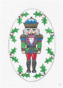 Blue & Green Nutcracker King handpainted Oval Needlepoint Canvas Creative Needle