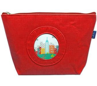 "Accessory~Silk Zip Clutch Purse Bag in Red for 2.75"" Rd. Needlepoint Canvas by LEE"