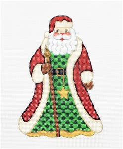 Standing Santa with a Staff Ornament handpainted Needlepoint Canvas by Alexa