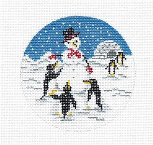 "Round~4"" Penguins Building a Snowman handpainted Needlepoint Canvas by Needle Crossings"