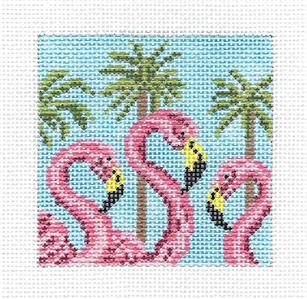 "Canvas~Three Flamingos & Palms 3"" Sq. handpainted Needlepoint Canvas Needle Crossings"
