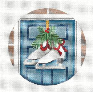 Round ~ Ladies Ice Skates Ornament handpaint Needlepoint Canvas by Rebecca Wood