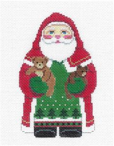 Santa~Santa Holding Teddy Bears handpainted Needlepoint Canvas by Susan Roberts