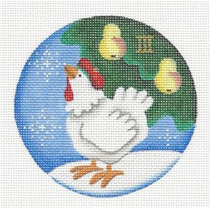 Round ~Adorable White Hen ~ 3rd Day of Christmas Needlepoint Canvas Rebecca Wood