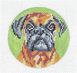 "Round~Fawn Boxer Dog 3"" handpainted Needlepoint Canvas by Needle Crossings"