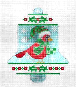 Bell-Christmas Cardinal Bell HP Needlepoint Ornament by CH Design from Danji