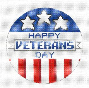 Round-Happy VETERANS DAY Patriotic HP Needlepoint Ornament Canvas by ZIA ~ Danji