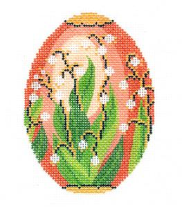 Faberge Egg~ JUNE Pearls Birthstone EGG OF THE MONTH handpainted Needlepoint Canvas by LEE