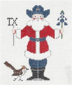 Canvas~ TEXAS SANTA handpainted Needlepoint Ornament Canvas by Petei ~ P. Pony