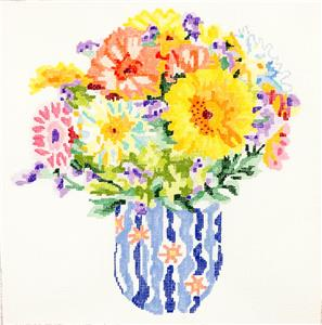 "Summer Bouquet #6 handpainted 14"" Sq. 13m Needlepoint Canvas by Jean Smith"
