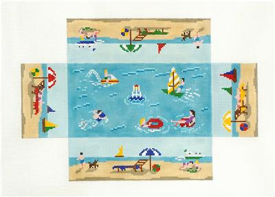 Brick Cover~Day at the Beach Brick Cover Door Stop handpainted Needlepoint Canvas S. Roberts