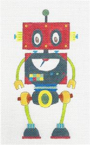 Canvas~ ROBOT in Red & Green handpainted Needlepoint Canvas by Nicole Tamarin
