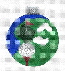 Round~Golf Ball & Green Ornament handpainted Needlepoint Canvas Whimsy & grace