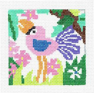 "Coaster~Tropical Flamingo 4"" Sq. Coaster handpainted Needlepoint Canvas Jean Smith"