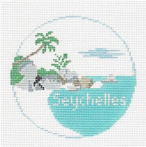 Travel Round~SEYCHELLES  handpainted Needlepoint Canvas~by Kathy Schenkel**MAY NEED TO BE SPECIAL ORDERED**