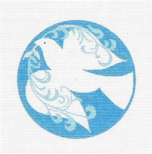 White Dove of Peace on Blue Handpainted Needlepoint Canvas Ornament JTM