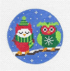 Round-2 OWLS on a BRANCH Ornament handpainted 13m Needlepoint Canvas by Karen ~ CBK