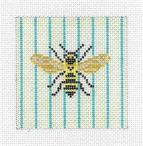 "Canvas~Bumble Bee Stripes 3"" Sq. handpainted Needlepoint Canvas Needle Crossings"