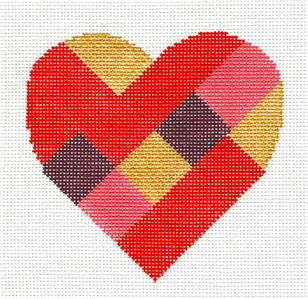 Patchwork Heart handpainted Needlepoint Canvas & STITCH GUIDE by Suzie Vallerie