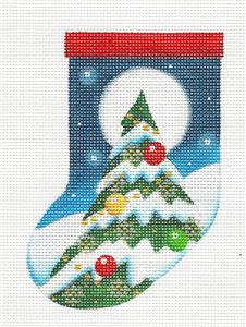 Stocking ~Decorated Tree in Moonlight Mini Sock Ornament Needlepoint Canvas Rebecca Wood