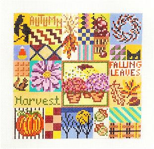 Canvas~Autumn Seaside Quilt handpainted 13 mesh Needlepoint Canvas by Needle Crossings