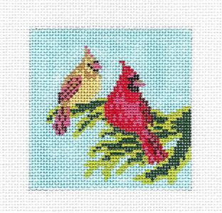 "Canvas~Cardinal Couple 3"" Sq. handpainted Needlepoint Canvas by Needle Crossings"