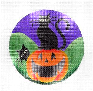 Round ~Black Cats & Pumpkin Halloween handpainted Needlepoint Canvas by Rebecca Wood *** MAY NEED TO BE SPECIAL ORDERED***