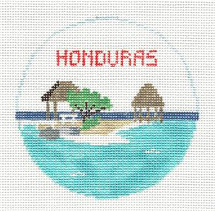 Travel Round~HONDURAS in Central America handpainted Needlepoint Ornament Canvas by Kathy Schenkel RD. ***MAY NEED TO BE SPECIAL ORDERED****