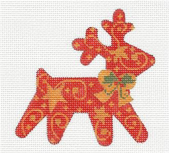 Canvas-Dashing Reindeer handpainted Needlepoint Ornament by CH Designs ~ Danji