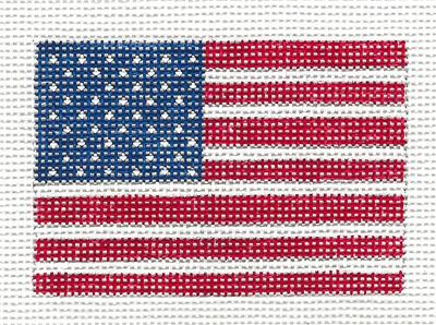 "Canvas~ AMERICAN FLAG to fit Planet Earth ID TAG 2"" by 3"" handpainted Needlepoint Canvas N.Crossings"