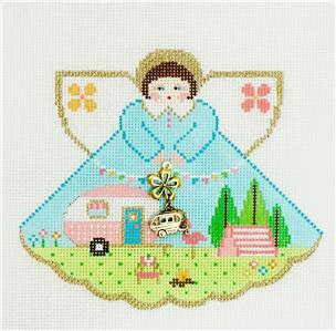 Angel~Glam Camping Angel with Charms handpainted Needlepoint Canvas Ornament Painted Pony **MAY NEED TO BE SPECIAL ORDERED**