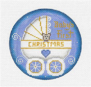 Round ~ Baby Boy's First Christmas Carriage handpainted Needlepoint Canvas Rebecca Wood