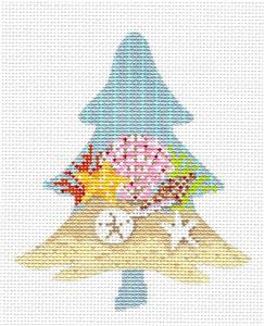 Kelly Clark Tree-Seashore Shells Tree & STITCH GUIDE handpainted Needlepoint Ornament Kelly Clark