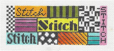STITCH Multi-Color Collage handpainted Needlepoint Canvas Insert by Mindy