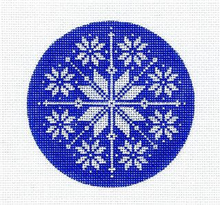 Round~Nordic Blue & White Snowflake handpainted Needlepoint Ornament Canvas Pepperberry