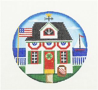 "Round ~Patriotic Cottage 4"" handpainted Needlepoint Ornament Canvas by Rebecca Wood~MAY NEED TO BE SPECIAL ORDERED"