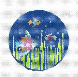 "Kelly Clark Round –Three Tropical Fancy Fish handpainted 3"" Round Needlepoint Canvas by Kelly Clark"