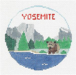 Travel Round~YOSEMITE NATL. PARK, CALIFORNIA handpainted Needlepoint Canvas~by Kathy Schenkel**MAY NEED TO BE SPECIAL ORDERED**