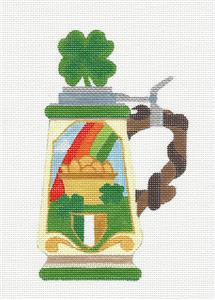 Stein~IRISH BEER STEIN handpainted Needlepoint Canvas by Raymond Crawford