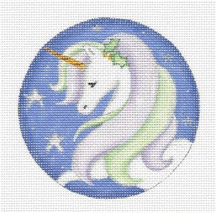 Round ~ HE UNICORN Ornament handpainted Needlepoint Canvas by Rebecca Wood